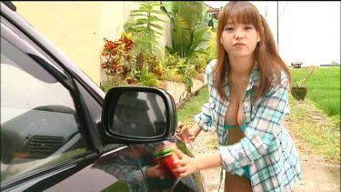 【篠崎愛】おっっぱいの形が変わるほど押し付けけられた爆乳洗車が最高に興奮する❤