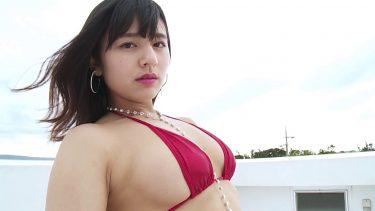【徳江かな】色気のある赤い水着姿で惜しげもなくエロいボディをアピール❤